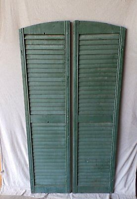 Pair Vtg Semi Arch Top House Window Wood Louvered Shutters Shabby 18x70 113-17P