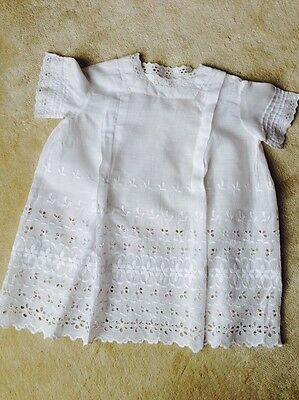 Antique Victorian Child Dress White Embroidered Cotton Wonderful