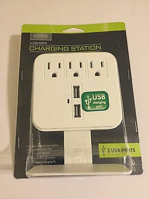 Living Solutions Charging Station, 2 USB Ports & 3 AC Outlets, Brand New !