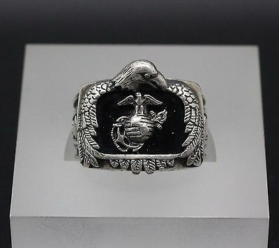 Sterling Silver Mes's US Marine Corps Ring Size 9.75