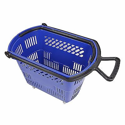Large Blue Rolling Plastic Shopping Basket with Pull Handle for Stores.