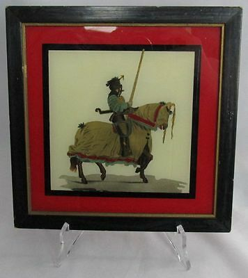 "Vintage Reverse Painting on Glass JAPANESE WARRIOR on HORSE Framed 8x8"" Square"