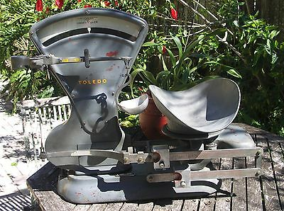 Large Vintage Toledo 40 lbs. Triple Ratio Counting Scale #3410 Working Condition