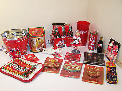Misc. Lot of Coca~Cola Collectables Magnets Cards Bucket Tins Car Hop Doll Face