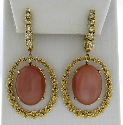 Modern 18k Gold Peach Moonstone Cabochon Diamond Drop Earrings