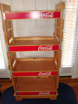 Coca Cola Wood Display Rack With Case And Bottles