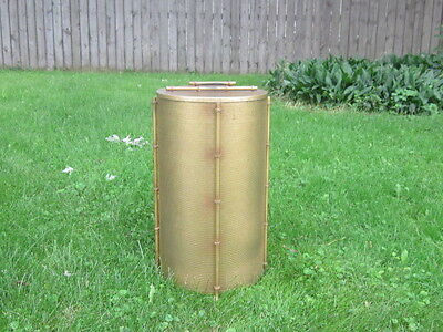 vintage Mid Century Modern MCM Hollywood Regency Gold Metal Bamboo Hamper