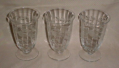 Lot of 3 Cataract Rock Sharpe 2010-4 Footed Iced Tea Tumblers Cut Crystal Libbey