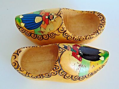 Vintage Wooden Dutch Clogs/ Shoes With Painted Boy & Girl~ Pair~ Made In Holland