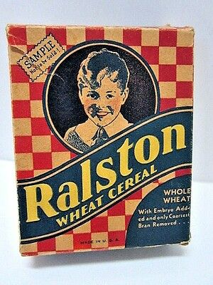 Vintage Ralston Wheat Cereal Box Small Sample Size Purina Company 1940's