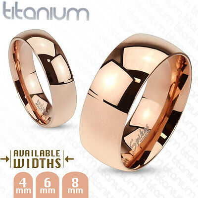 Classy Mens Womens Solid Titanium Rose Gold Ip Mirror Polished Wedding Band Ring
