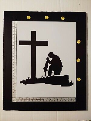 "Military Soldier Kneeling At Cross 11"" x 8.5"" Custom Stencil FAST FREE SHIPPING"