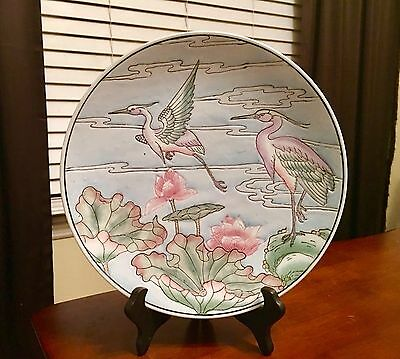 Beautiful Heron Birds With Pink And Green Lily Pads Plate