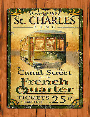 "TIN SIGN ""New Orleans St. Charles"" Street Car Art Wall Decor"