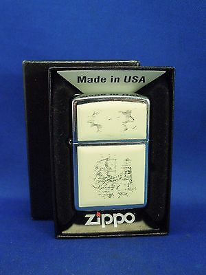 1996 Ship and Lighthouse Scrimshaw Lighter Zippo Lighter with Box