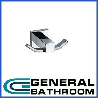 Square Double Robe Hook Brass Chrome Finished