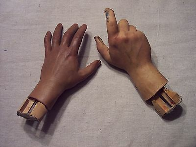 Vintage Realistic Set Of  Hands Plymouth Wax Museum Figure