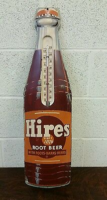 Vintage Old Hires Root Beer Bottle Shaped Metal Thermometer