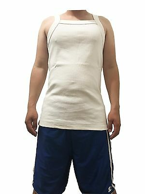 G UNIT Square Cut Ribbed Tank Top Undershirt Wife Beater Mens Cotton White L