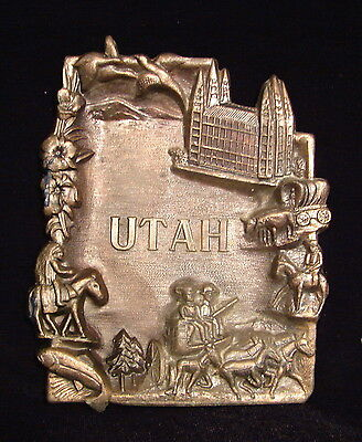 Vintage Souvenir Tray ashtray State of Utah Embossed Stamped Figural History vgc