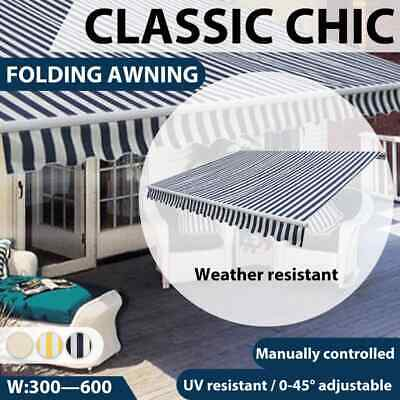 Automatic/Manual Outdoor Folding Arm Awning Sunshade Canopy Multi Colours Sizes