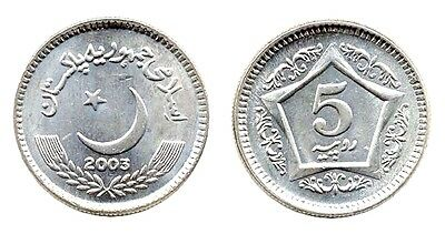 Forty (40) Pakistan KM65 5 Rupees Coins,2003, Uncirculated, Cresent, Star,Date
