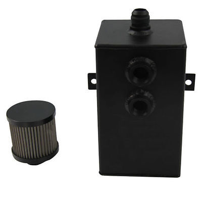 2L An-10 Aluminum Catch Oil Tank Can Breather Breather Filter Drain