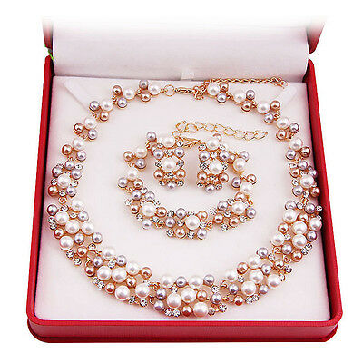 New Pearl Necklace Earring Set Gold Plated Beads Fashion Wedding Jewelry Sets