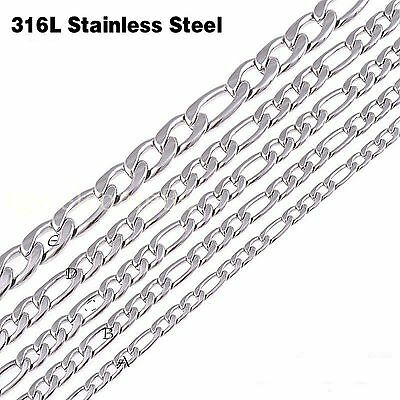 """18""""-36"""" Wholesale Silver 316L Stainless Steel Figaro Chain Necklace In Bulk Hot"""