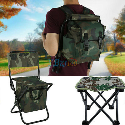 2 in 1 Folding Fishing Stool Backpack Seat Chair Hunting Tear-Resistance Bag SA