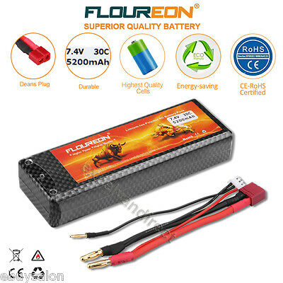 2S 7.4V 5200mAh 30C LiPo Battery Pack Deans for RC Car Airplane Helicopter Hobby