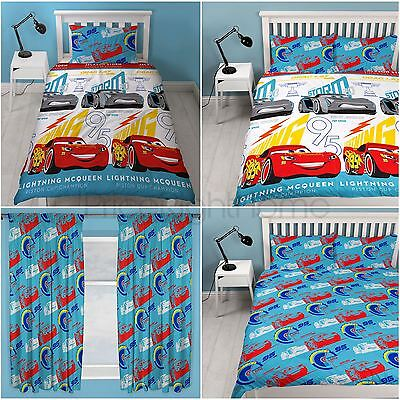 "Disney Cars 3 Lightning - Duvet Cover Sets Single & Double, Curtains 54"" & 72"""
