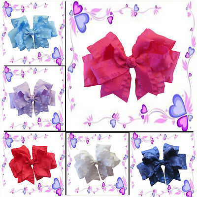 "14 BLESSING Happy Girl Hair Accessories Ruffle Ribbon 5"" Double Cheer Bow Clip"