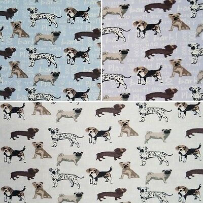 Cute Puppy Dog Breeds On Words 100% Cotton Fabric (Fabric Freedom)