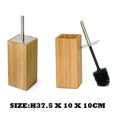 Luxury Bamboo Wood Toilet Brush & Holder Set Bathroom Cleaning Accessory New