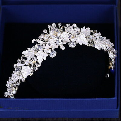 4cm High White Leaf Pearl Crystal Gold Adult Tiara Crown Wedding Prom Party