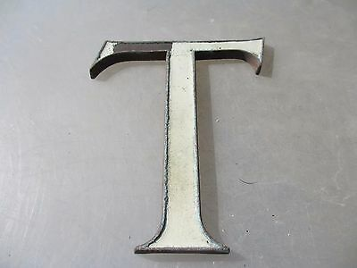 "Large Antique Copper Shop Letter ""T"" Sign Old Architectural Vintage Name  6.25""H"