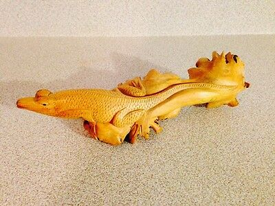 """Superb Primitive Carved 8"""" Lizard Out Of Wooden Tree Fungus, Folk Art"""