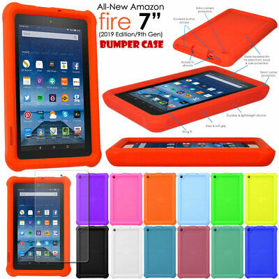 "Rugged Soft Silicone Shock Proof Kids BUMPER Case for Amazon Fire 7"" 2017 Alexa"