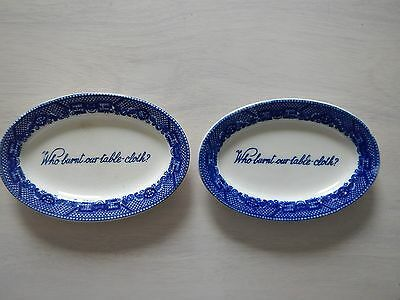 (2) Blue Willow Hard-To-Find Who Burnt Our Table-Cloth Small Oval Plates- Japan