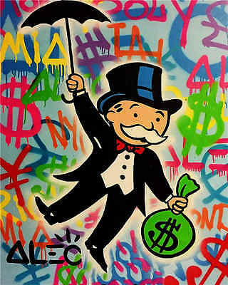 Alec Monopoly Oil Painting on Canvas Urban art wall decor Umbrella 28x36""