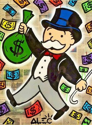 Alec Monopoly Oil Painting on Canvas Urban art Wall Decor Money Color 28x36""