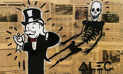 Alec Monopoly Oil Painting on Canvas Urban art Wall Decor Skeleton 28x48""