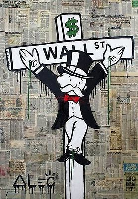 Alec Monopoly Banksy Oil Painting on Canvas Urban art Wall Decor Crucified