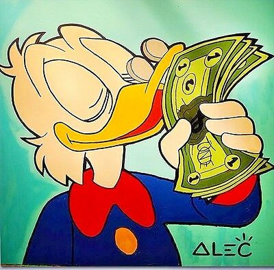 """Alec Monopoly Oil Painting on Canvas Urban art Mr Scrooge smell the money 24x24"""""""