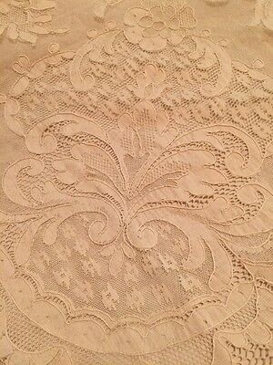 "Antique ALENCON FRENCH Net Lace TABLECLOTH or BED COVER 100""x90"" Ecru Stunning"