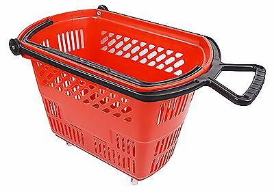 Large Red Rolling Plastic Shopping Basket with Pull Handle for Stores.