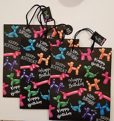 """Happy Birthday Dachshund Doxie Dog Poodle Gift Bags Lot of 3 (10.25"""" x 12.25"""")"""
