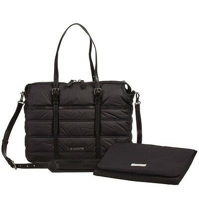 Burberry 'Abbey' Black Quilted Nylon Diaper Bag w/ Changing Mat $850+