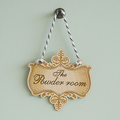 Fancy vintage hanging room sign. The Powder Room laser etched wooden plaque L57